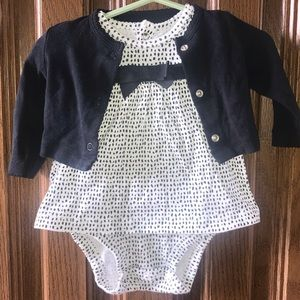 Carter's Sundress w/black bow detail and Cardigan